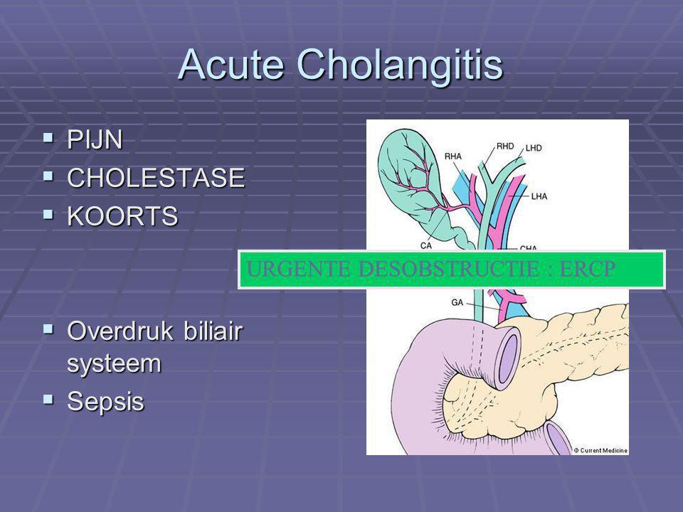 Acute Cholangitis PIJN CHOLESTASE KOORTS Overdruk biliair systeem