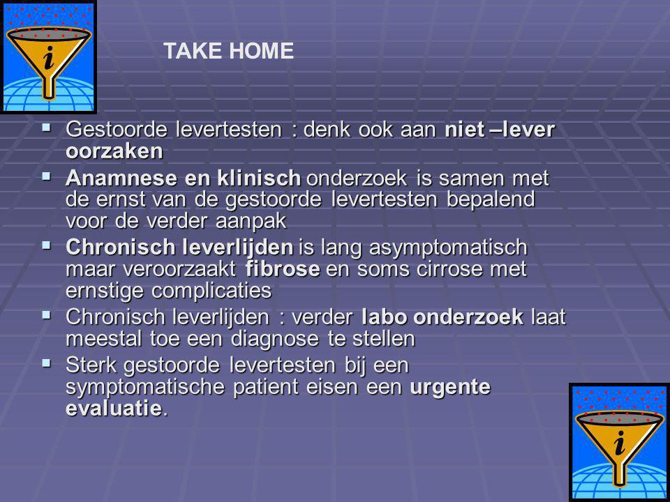 TAKE HOME Gestoorde levertesten : denk ook aan niet –lever oorzaken.