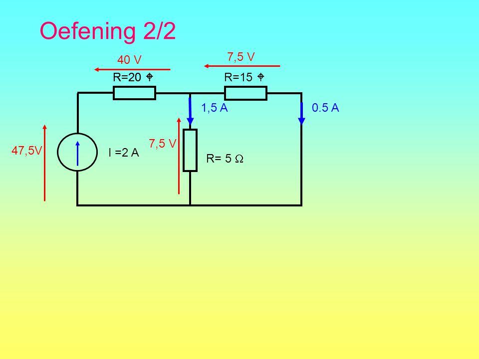 Oefening 2/2 7,5 V 40 V R=20  R=20  R=15  I =2 A R= 5  1,5 A 0.5 A