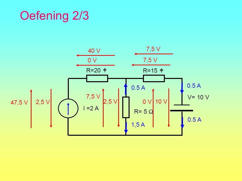 Oefening 2/3 40 V 7,5 V 0 V 7,5 V R=20  R=15  I =2 A R= 5  0.5 A