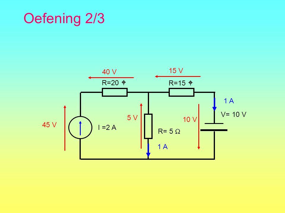 Oefening 2/3 40 V 15 V R=20  R=15  I =2 A R= 5  1 A 10 V V= 10 V