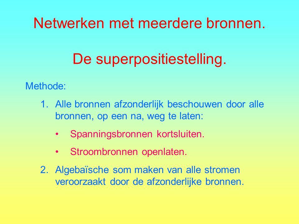 Netwerken met meerdere bronnen. De superpositiestelling.
