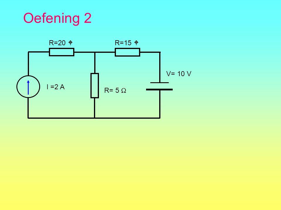 Oefening 2 R=20  R=15  I =2 A R= 5  V= 10 V