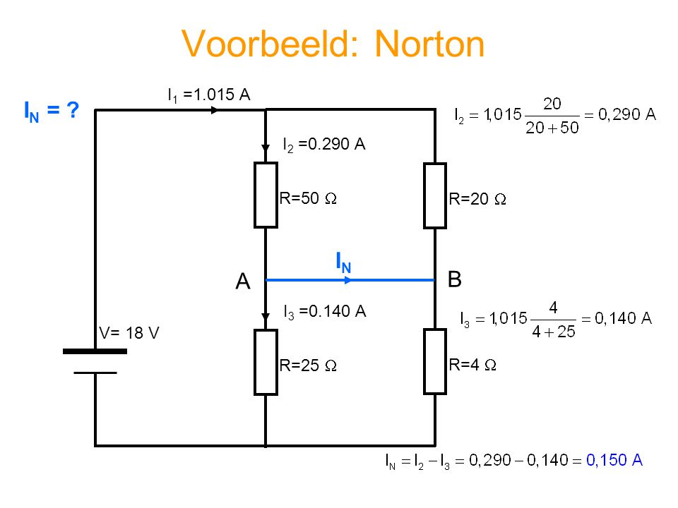 Voorbeeld: Norton IN = IN A B I1 =1.015 A I2 =0.290 A R=50  R=20 