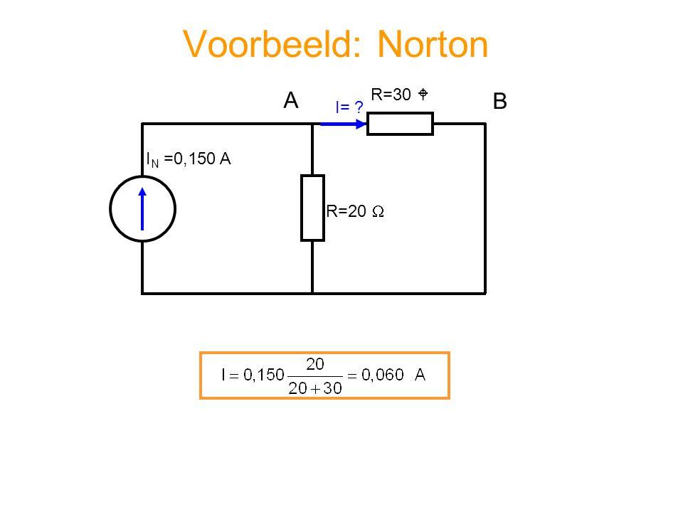 Voorbeeld: Norton A R=30  B I= IN =0,150 A R=20 