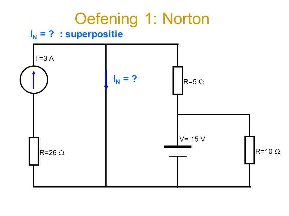 Oefening 1: Norton IN = : superpositie IN = I =3 A R=5  V= 15 V