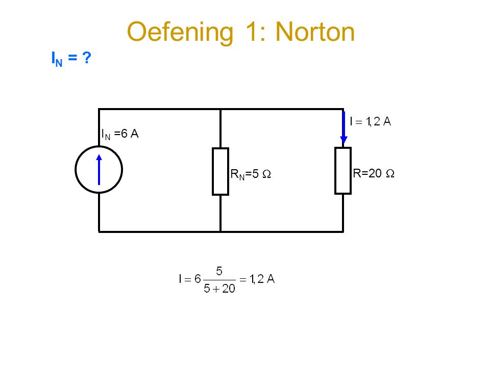 Oefening 1: Norton IN = IN =6 A RN=5  R=20 