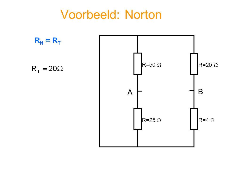 Voorbeeld: Norton RN = RT R=50  R=20  A B R=25  R=4 