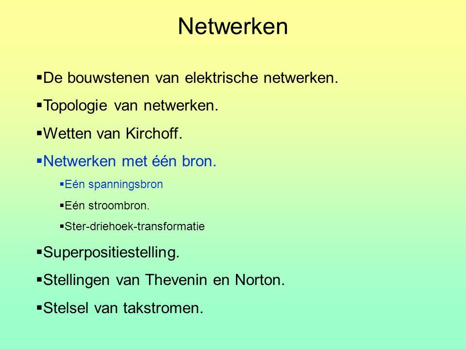 Netwerken De bouwstenen van elektrische netwerken.