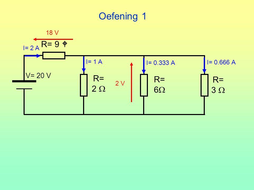 Oefening 1 R= 9  R= R= R= 2  6 3  V= 20 V 18 V I= 2 A I= 1 A