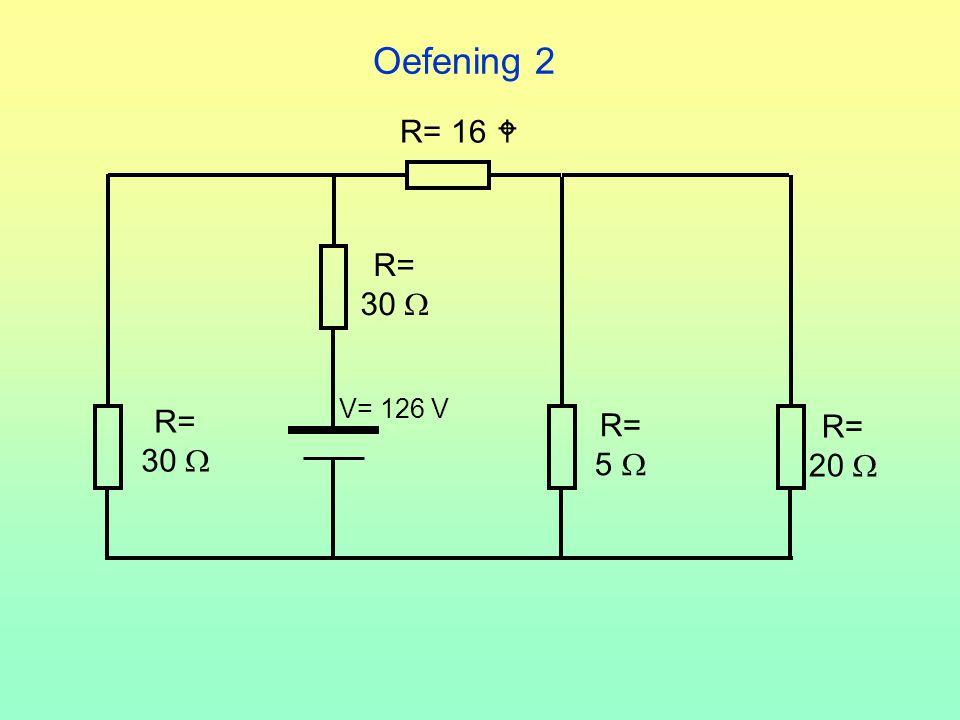 Oefening 2 R= 16  R= 30  V= 126 V R= 30  R= 5  R= 20 