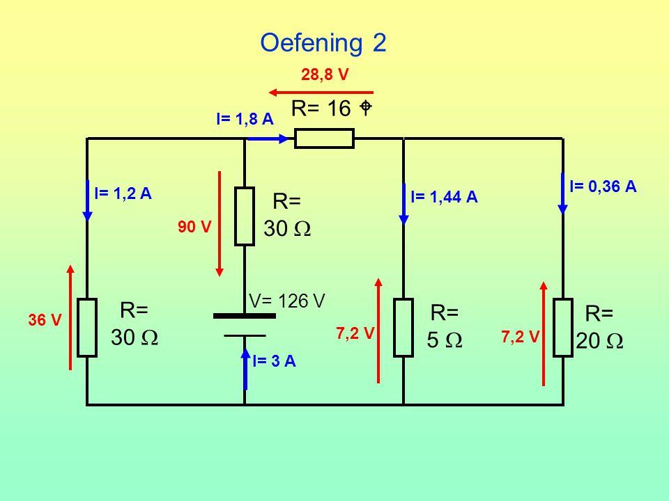 Oefening 2 R= 16  R= 30  R= R= R= 30  5  20  V= 126 V 28,8 V