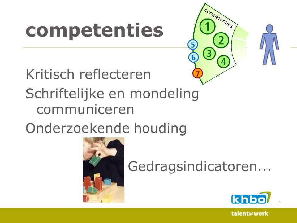 competenties Kritisch reflecteren