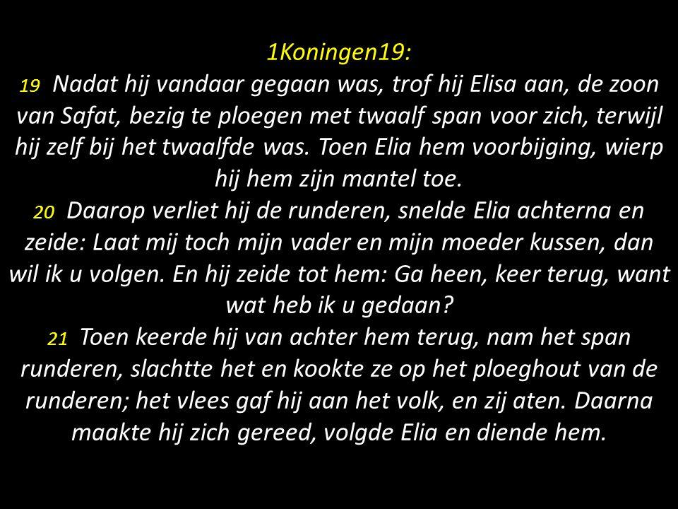 1Koningen19: 19 Nadat hij vandaar gegaan was, trof hij Elisa aan, de zoon van Safat, bezig te ploegen met twaalf span voor zich, terwijl hij zelf bij het twaalfde was.
