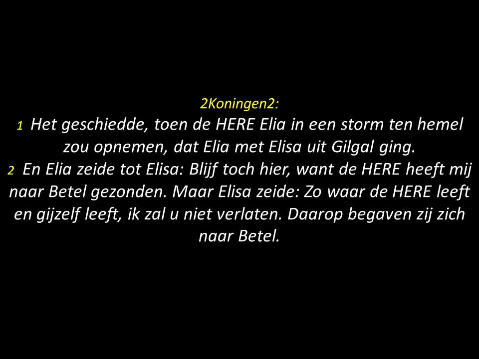 2Koningen2: 1 Het geschiedde, toen de HERE Elia in een storm ten hemel zou opnemen, dat Elia met Elisa uit Gilgal ging.