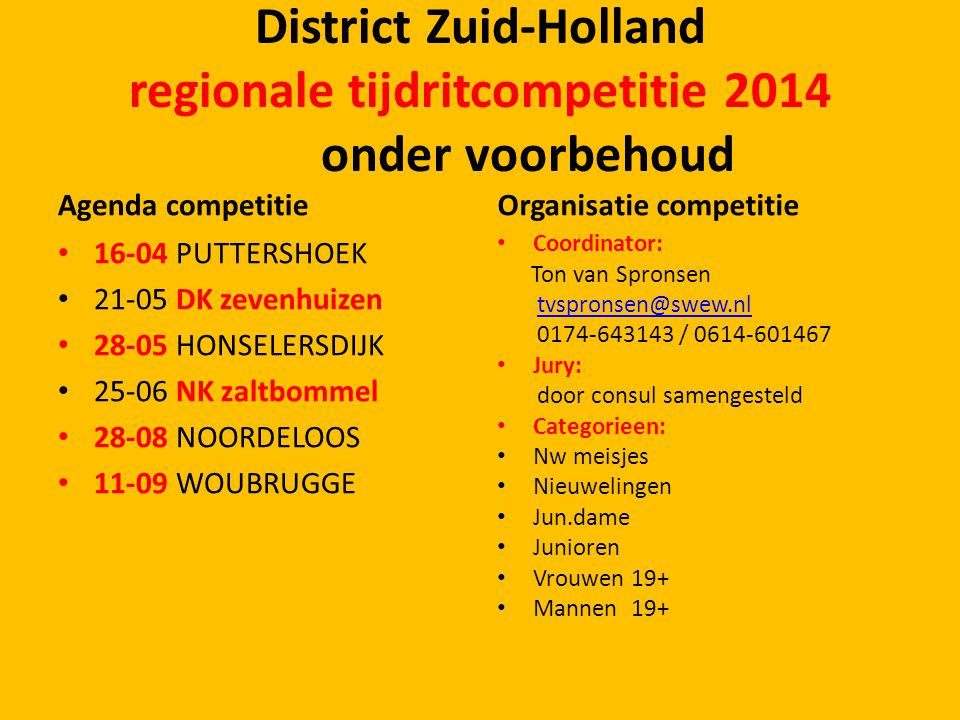 District Zuid-Holland regionale tijdritcompetitie 2014