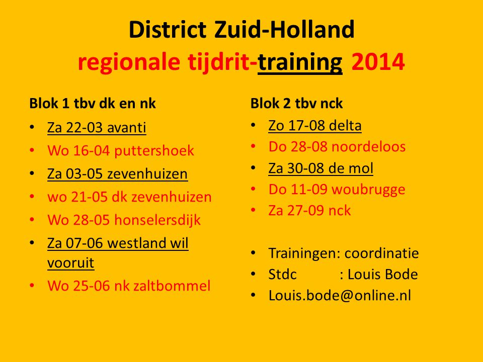 District Zuid-Holland regionale tijdrit-training 2014