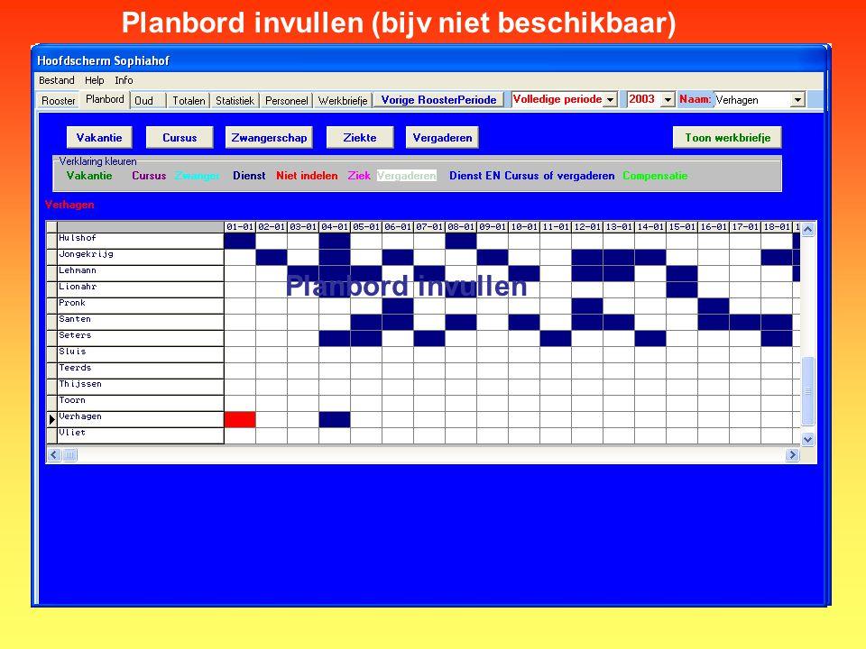 Planbord invullen (bijv niet beschikbaar)