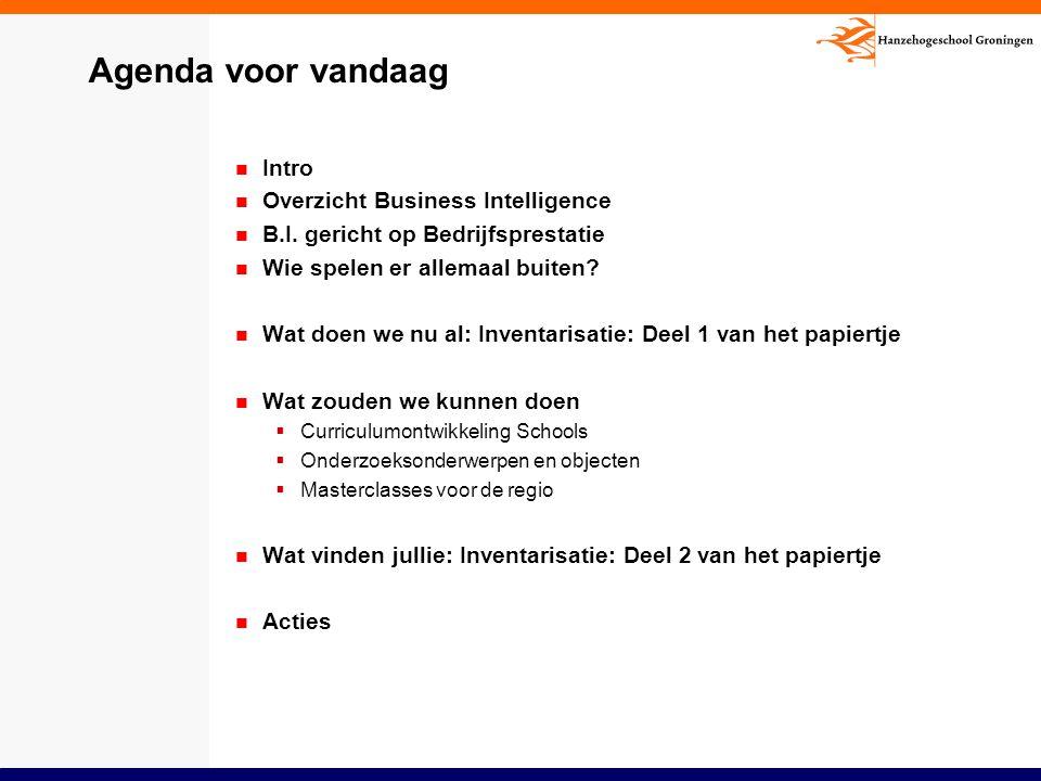 Agenda voor vandaag Intro Overzicht Business Intelligence