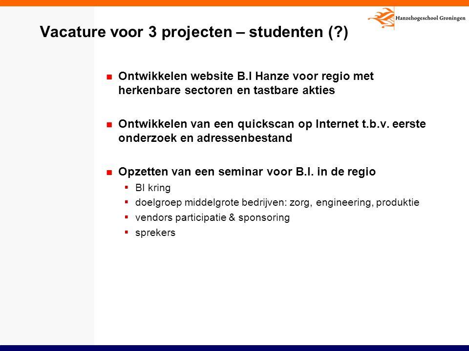 Vacature voor 3 projecten – studenten ( )