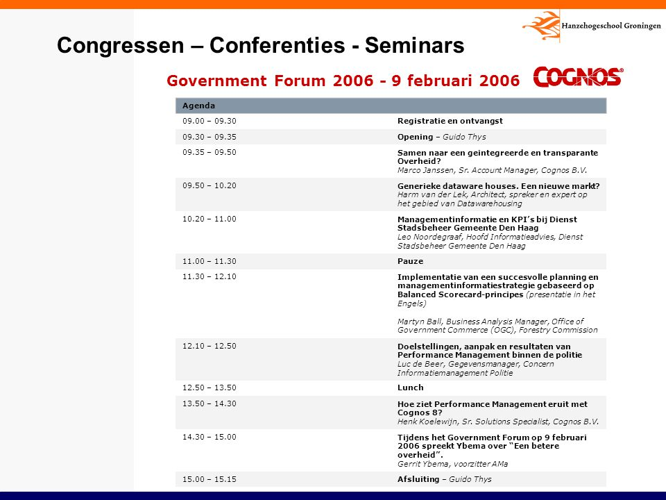 Congressen – Conferenties - Seminars
