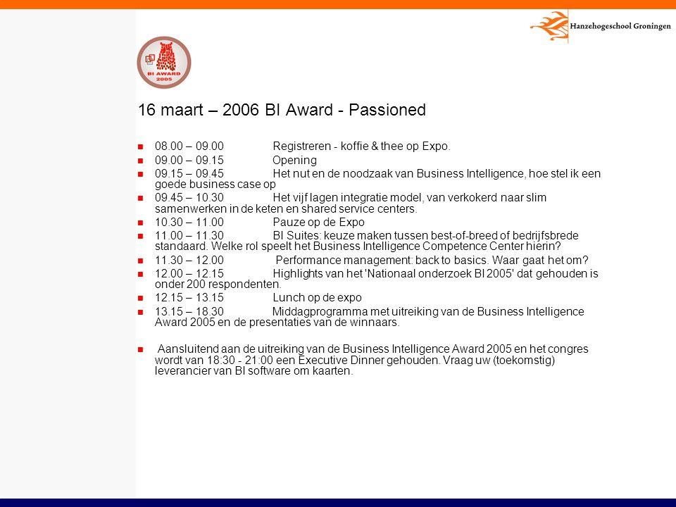 16 maart – 2006 BI Award - Passioned