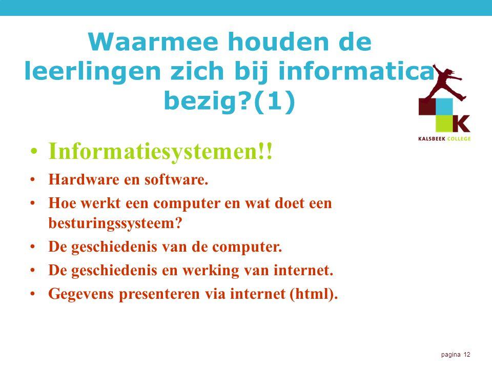 Waarmee houden de leerlingen zich bij informatica bezig (1)