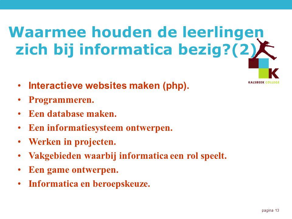 Waarmee houden de leerlingen zich bij informatica bezig (2)