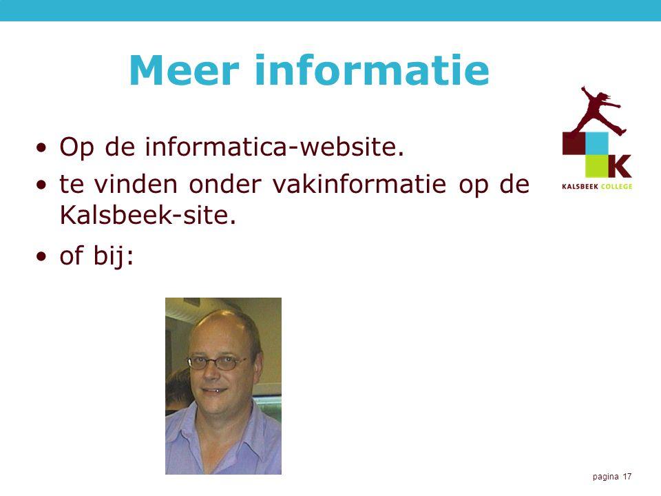 Meer informatie Op de informatica-website.