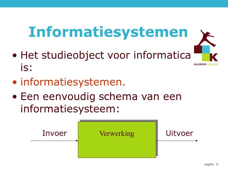Informatiesystemen Het studieobject voor informatica is: