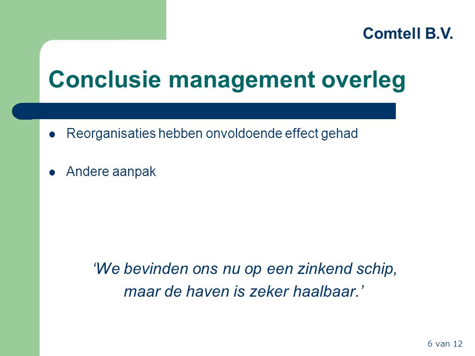 Conclusie management overleg