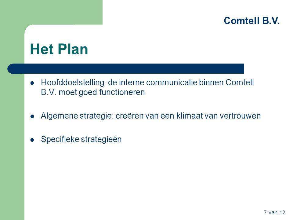 Het Plan Hoofddoelstelling: de interne communicatie binnen Comtell B.V. moet goed functioneren.