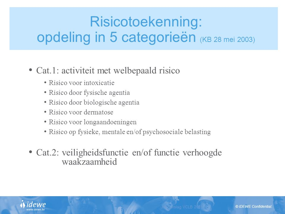 Risicotoekenning: opdeling in 5 categorieën (KB 28 mei 2003)