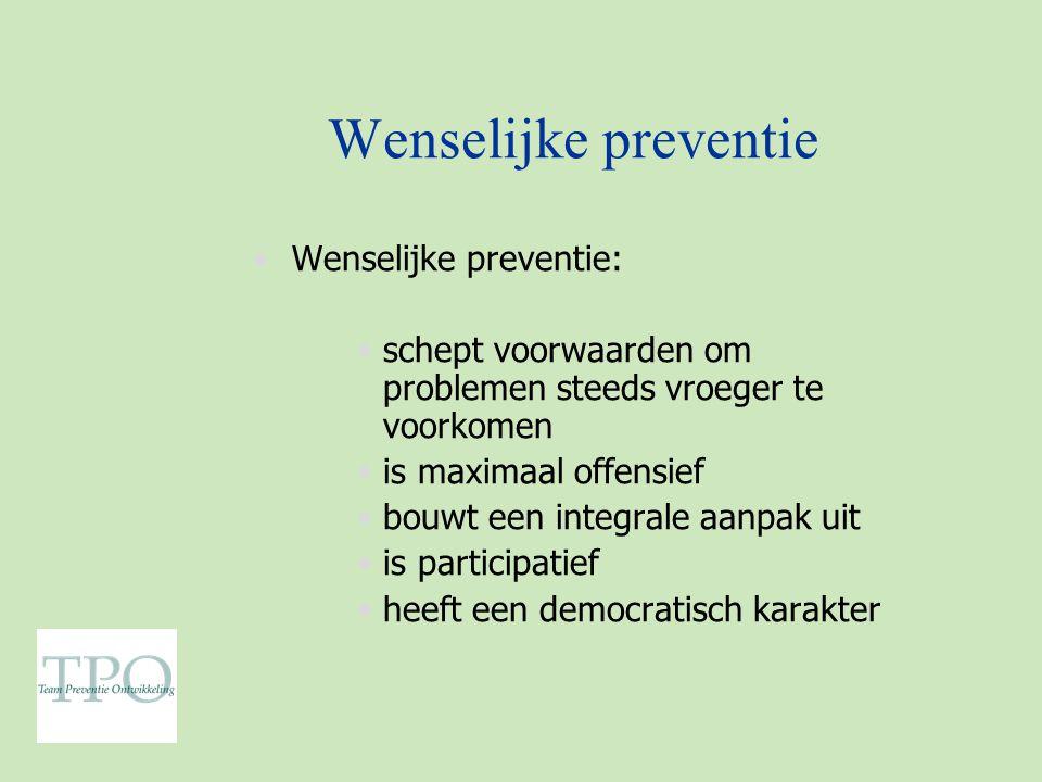 Wenselijke preventie Wenselijke preventie: