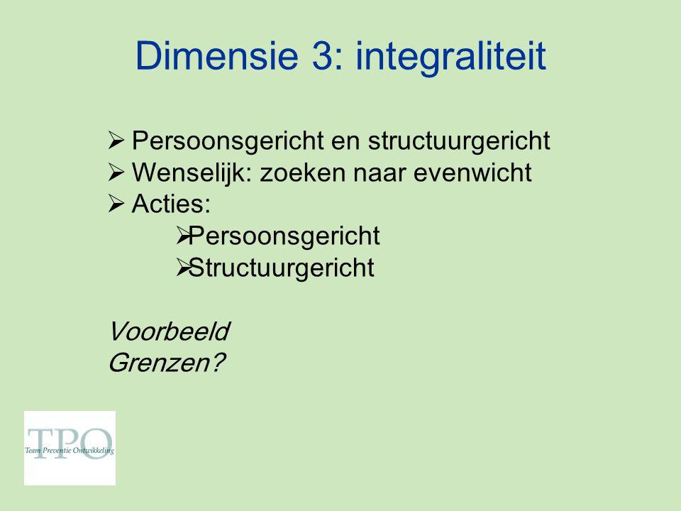 Dimensie 3: integraliteit