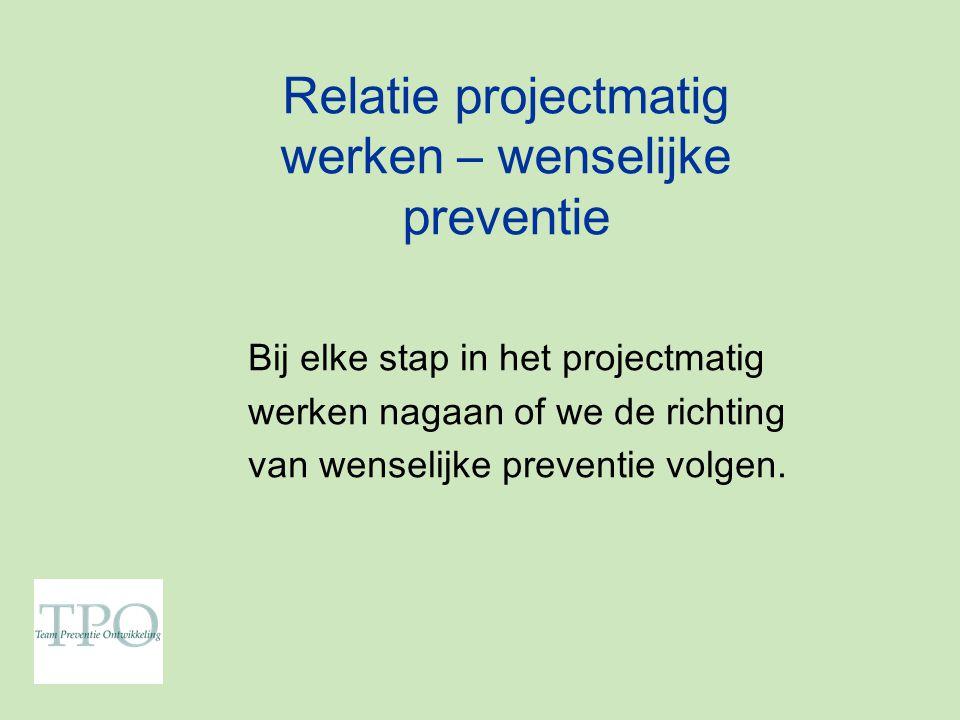 Relatie projectmatig werken – wenselijke preventie