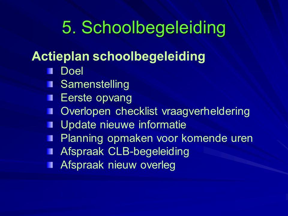 5. Schoolbegeleiding Actieplan schoolbegeleiding Doel Samenstelling