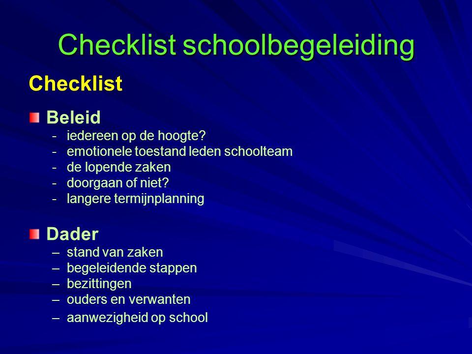 Checklist schoolbegeleiding