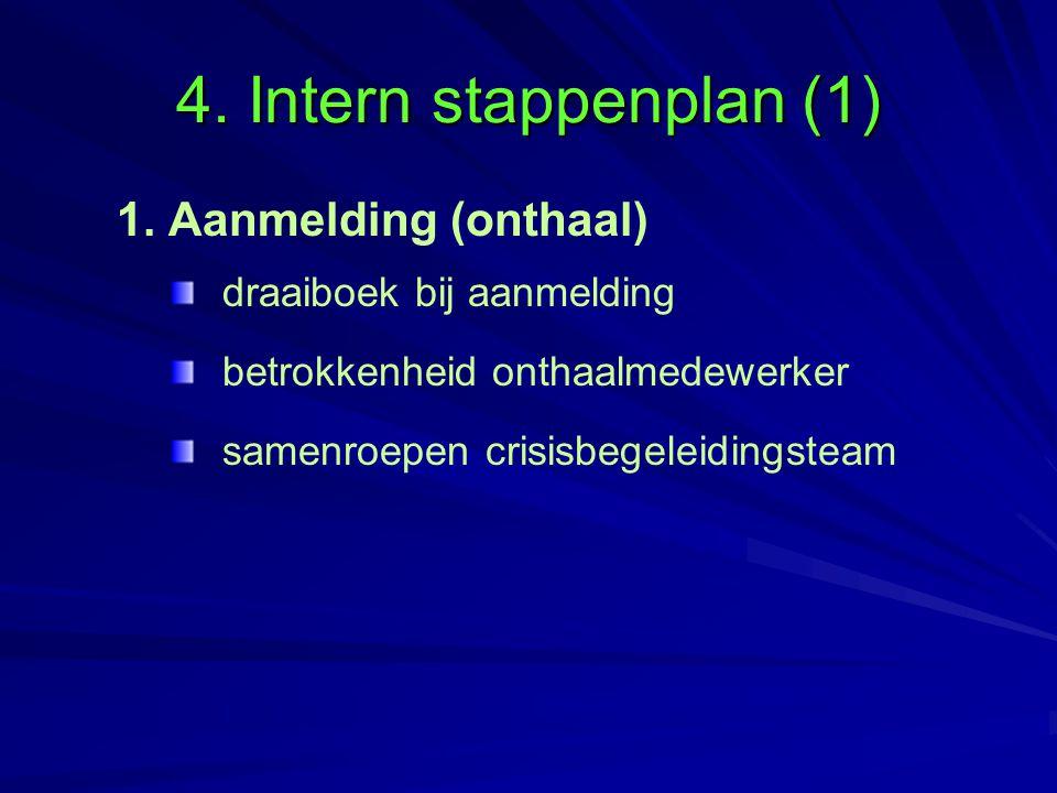 4. Intern stappenplan (1) 1. Aanmelding (onthaal)