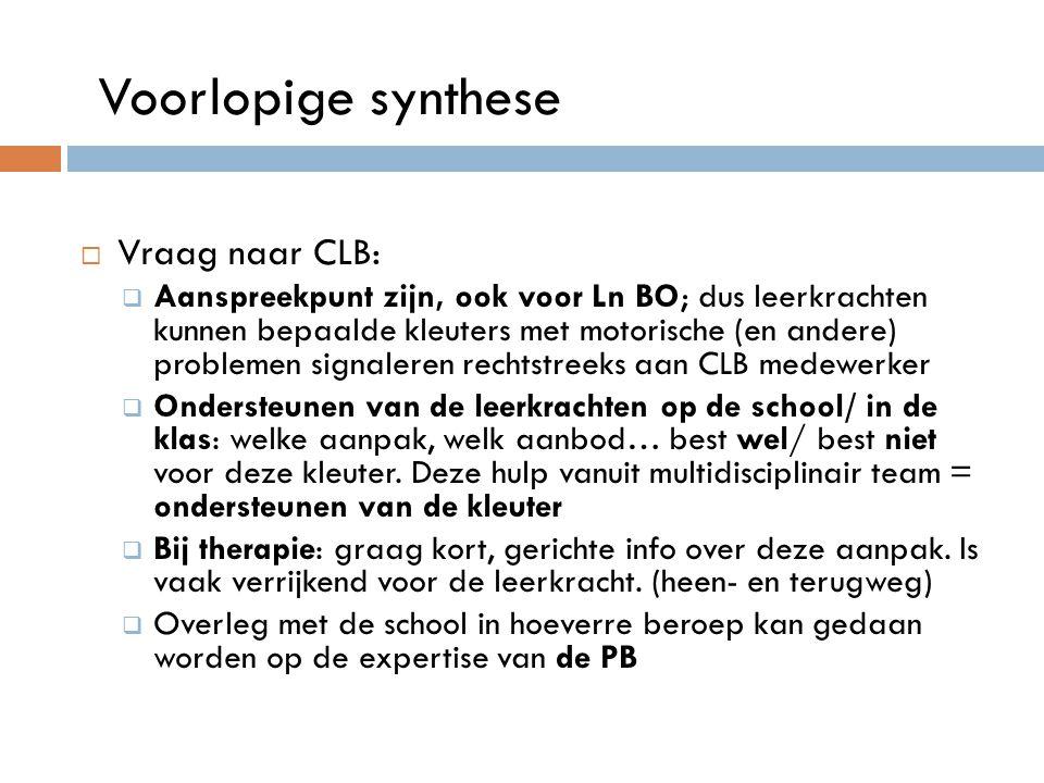 Voorlopige synthese Vraag naar CLB: