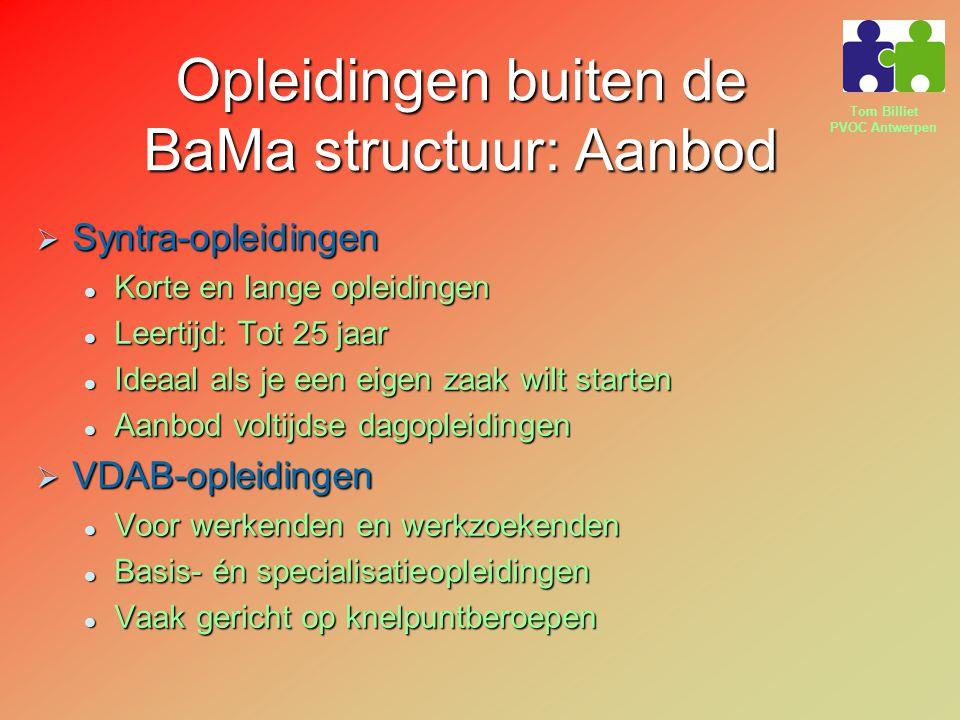 Opleidingen buiten de BaMa structuur: Aanbod