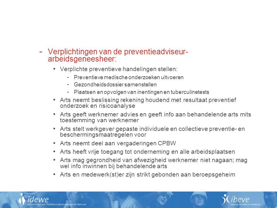 Verplichtingen van de preventieadviseur-arbeidsgeneesheer: