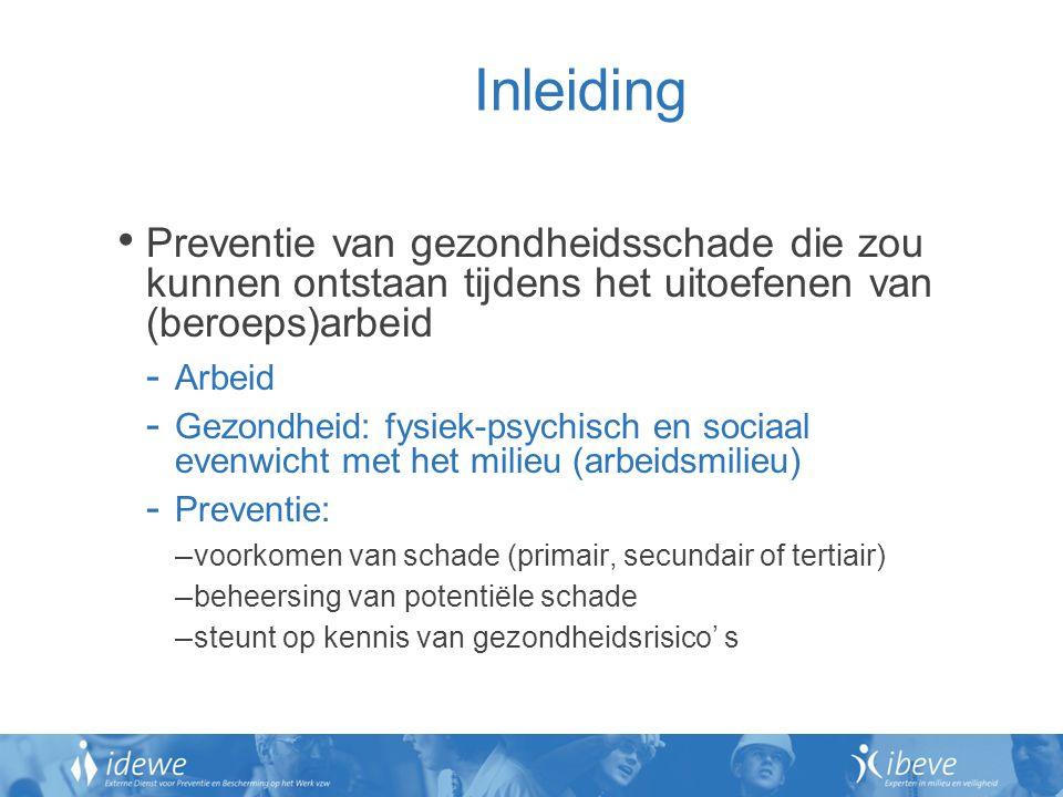 Inleiding Preventie van gezondheidsschade die zou kunnen ontstaan tijdens het uitoefenen van (beroeps)arbeid.