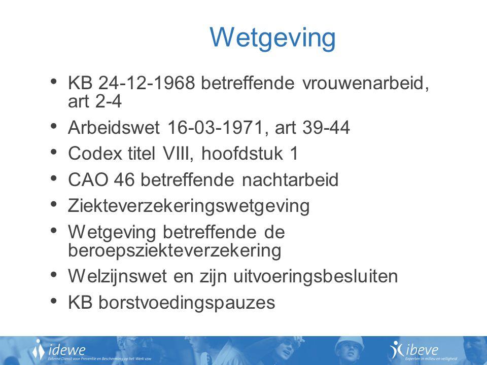 Wetgeving KB 24-12-1968 betreffende vrouwenarbeid, art 2-4