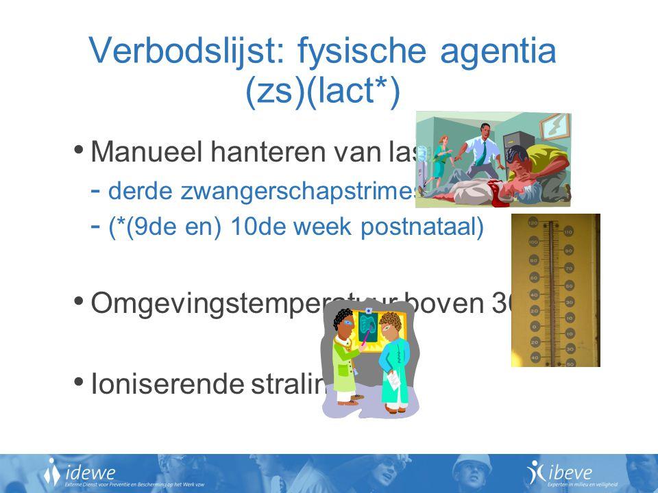 Verbodslijst: fysische agentia (zs)(lact*)