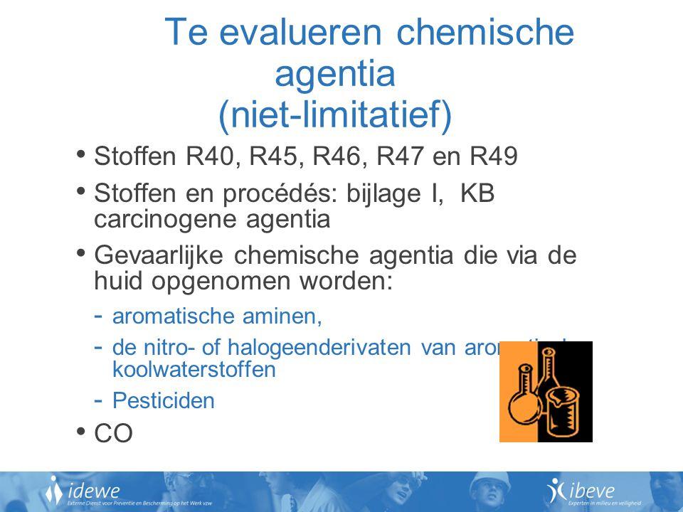 Te evalueren chemische agentia (niet-limitatief)