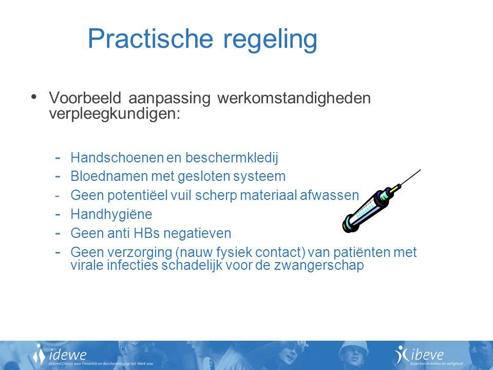 Practische regeling Voorbeeld aanpassing werkomstandigheden verpleegkundigen: Handschoenen en beschermkledij.