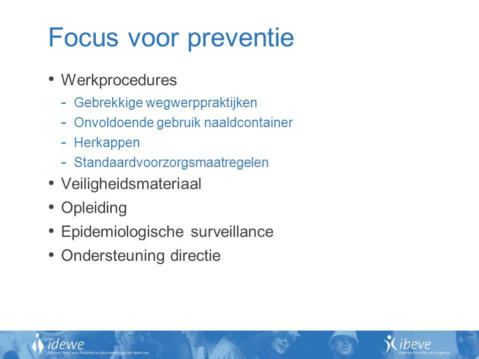 Focus voor preventie Werkprocedures Veiligheidsmateriaal Opleiding