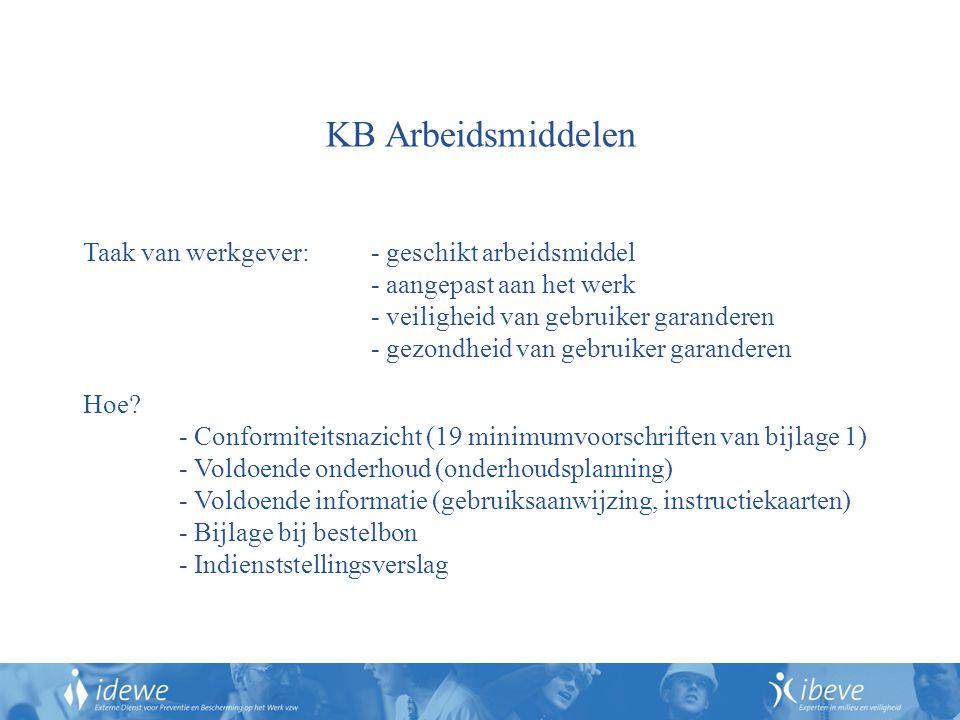 KB Arbeidsmiddelen Taak van werkgever: - geschikt arbeidsmiddel