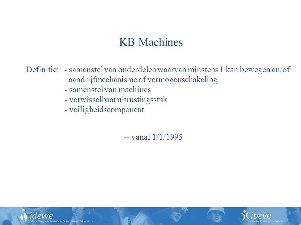 KB Machines Definitie: - samenstel van onderdelen waarvan minstens 1 kan bewegen en/of. aandrijfmechanisme of vermogenschakeling.